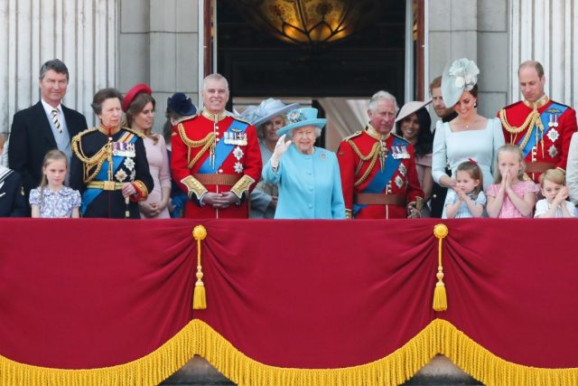 The British royal family stands on the balcony of Buckingham Palace during Trooping the Colour on June 9, 2018