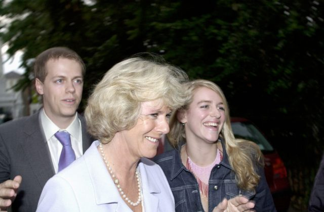 Camilla Parker Bowles with her son, Tom Parker Bowles, and daughter, Laura Lopes, leaving a party