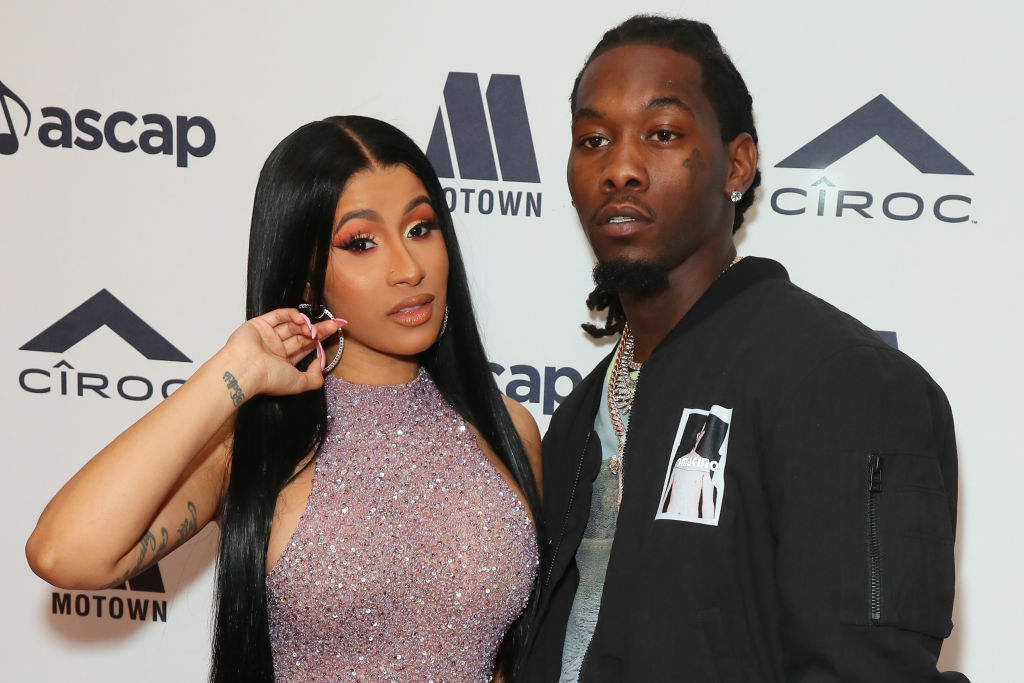 Cardi B and Offset on the red carpet at an award show in June 2019
