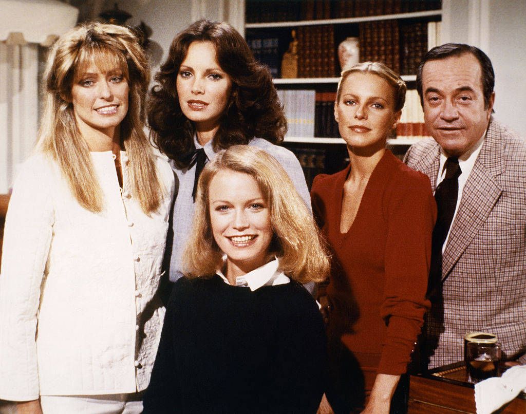 "Farrah Fawcett, Jaclyn Smith, Shelley Hack, Cheryl Ladd, and David Doyle on the set of ""Charlie's Angels"""