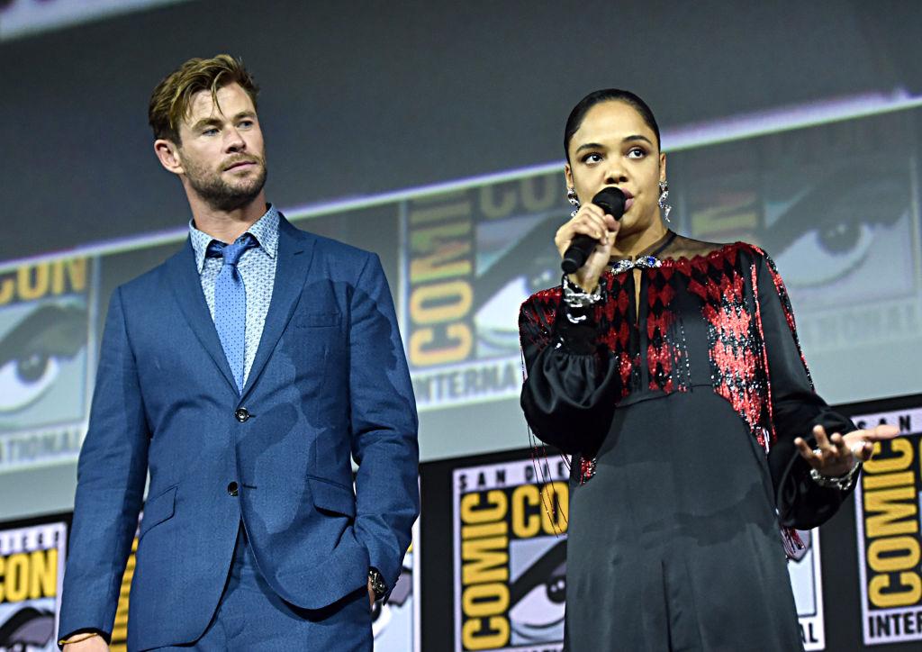 Chris Hemsworth and Tessa Thompson of Marvel Studios' 'Thor: Love and Thunder'
