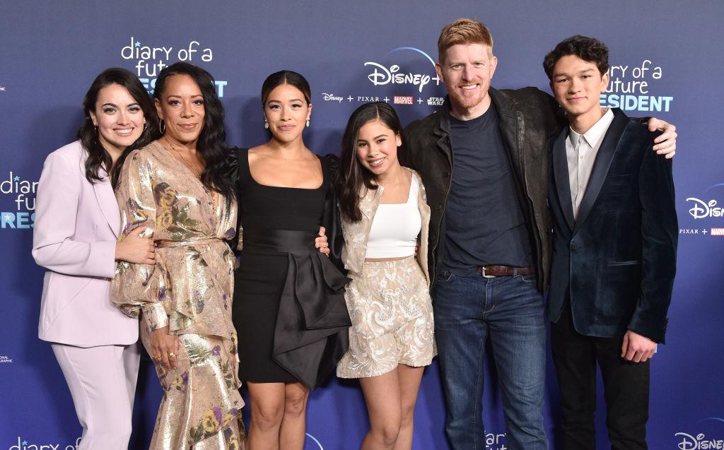 "Ilana Peña, Selenis Leyva, Gina Rodriguez, Tess Romero, Michael Weaver, and Charlie Bushnell of Disney+'s ""Diary Of A Future President"""