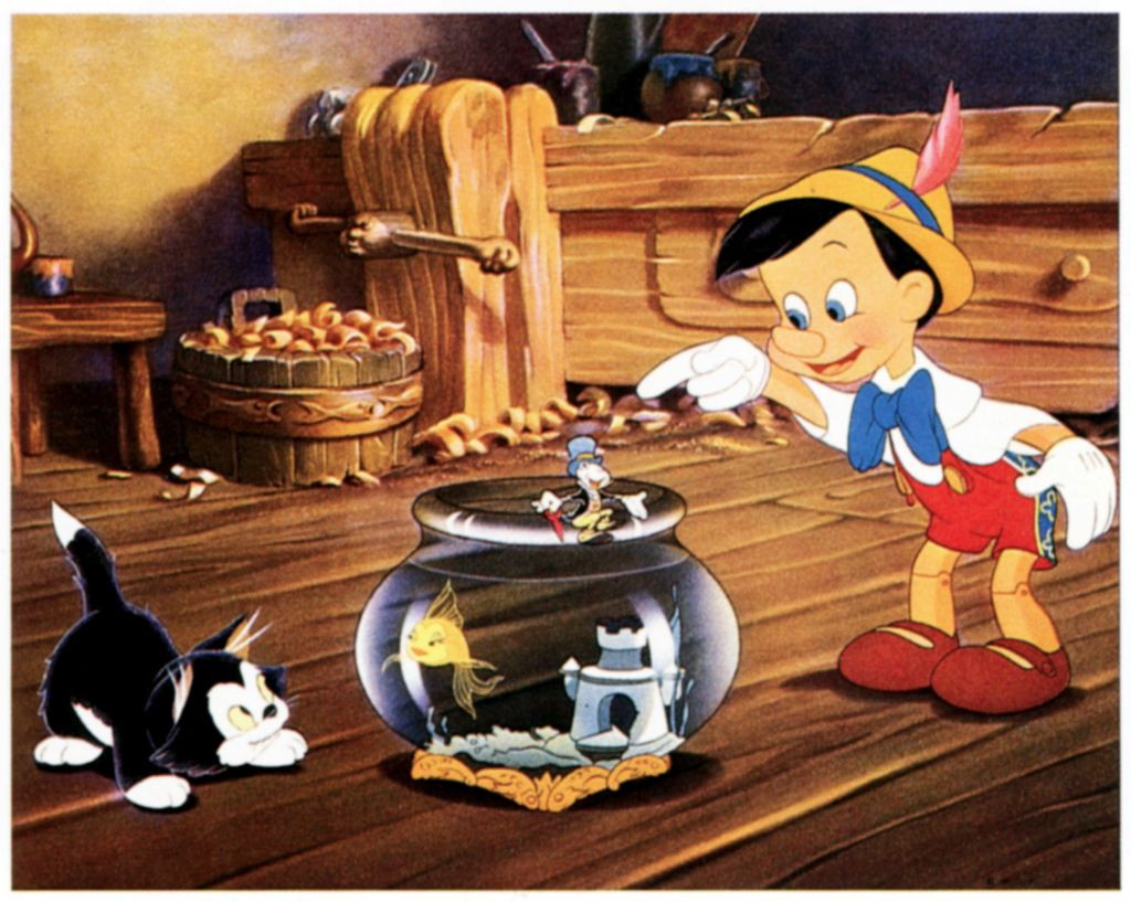 Pinocchio, Figaro, Cleo the Fish, Jiminy Cricket of 'Pinocchio'