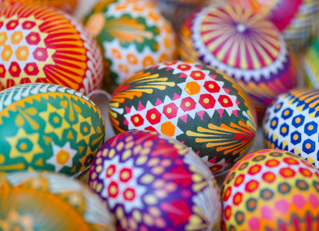 Closeup of Easter eggs