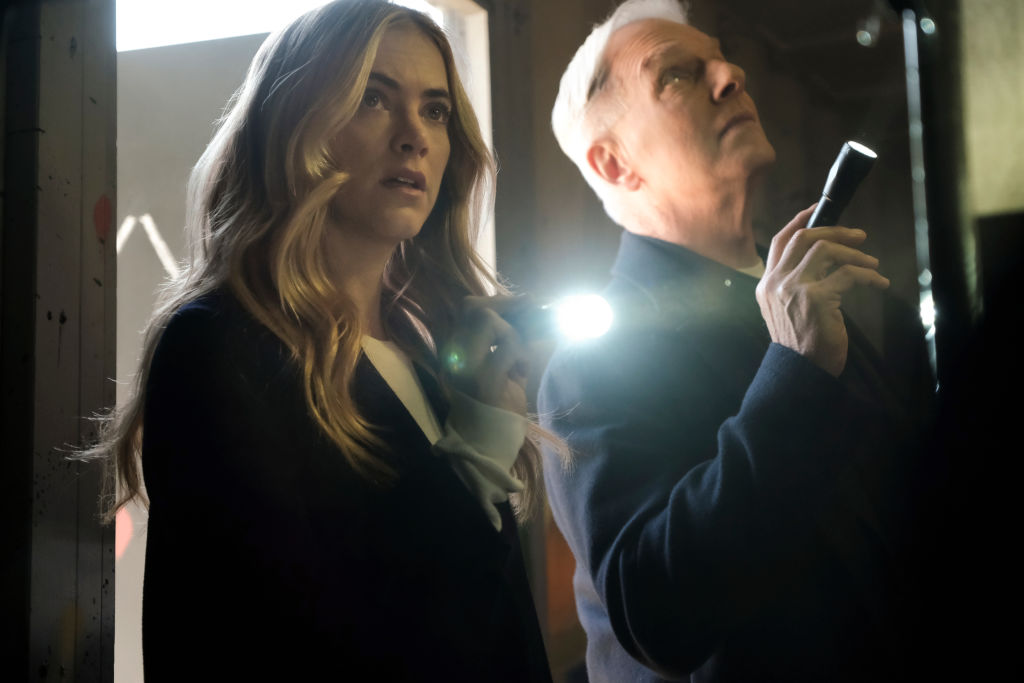 Emily Wickersham and Mark Harmon on NCIS |  Eddy Chen/CBS via Getty Images