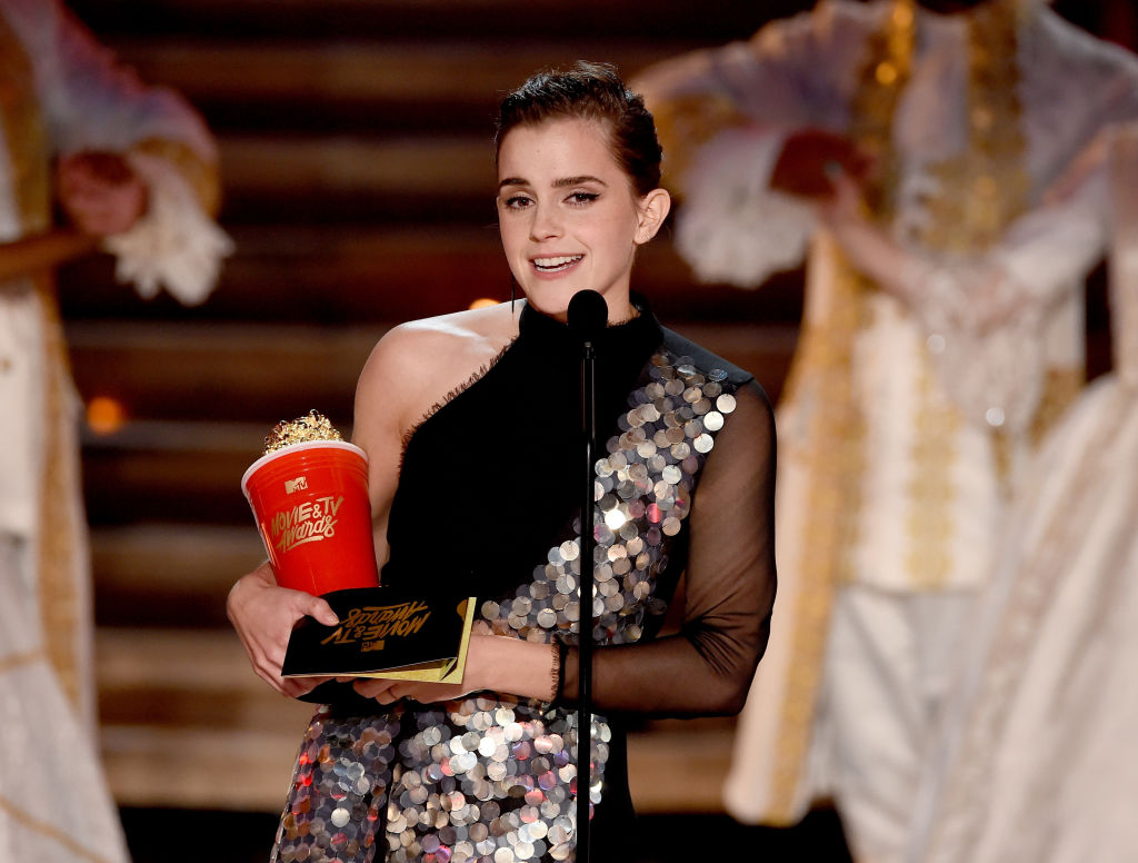 Actor Emma Watson accepts Best Actor in a Movie for 'Beauty and the Beast'