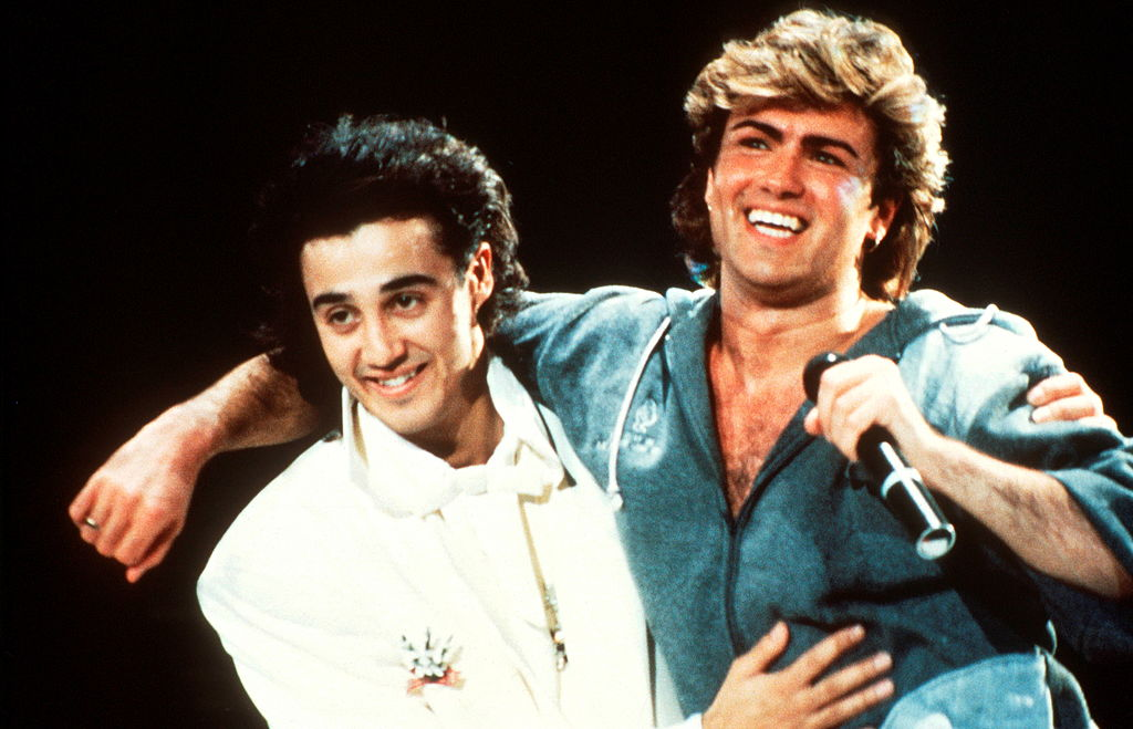 Andrew Ridgeley (left) and George Michael made up the musical duo Wham!, here in 1985