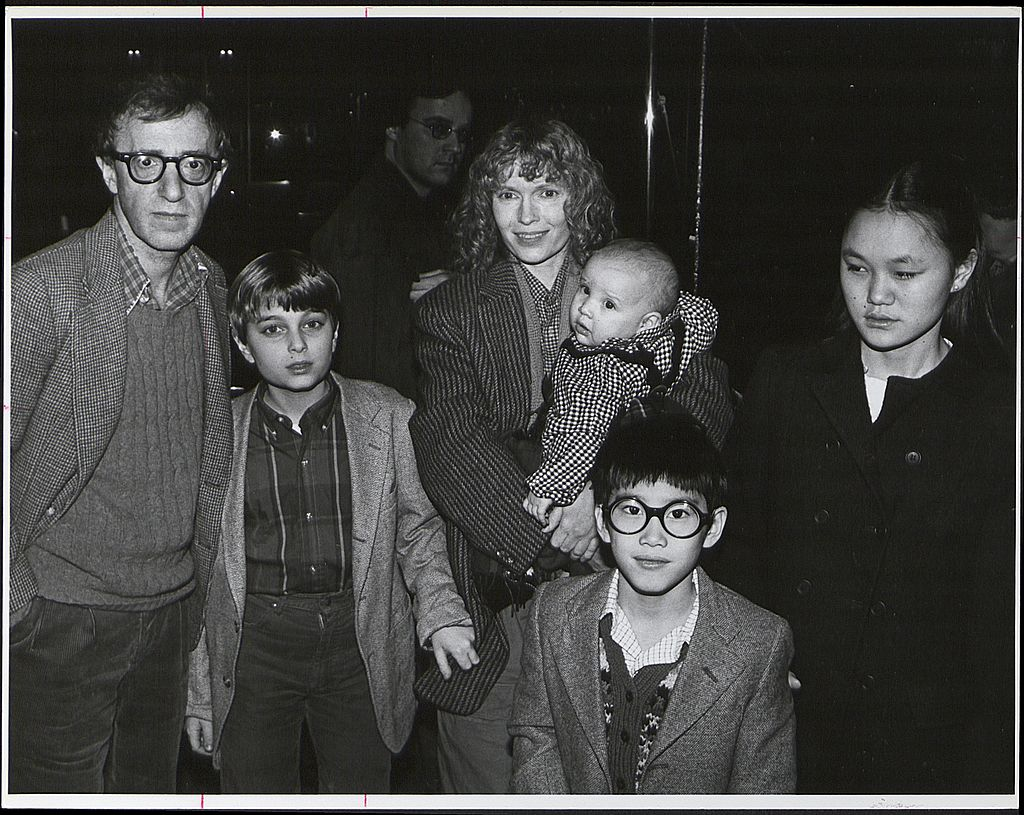 Woody Allen, former partner Mia Farrow and their family in 1986