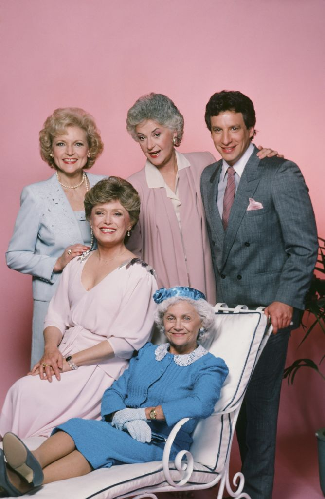The original cast of 'The Golden Girls' included Charles Levin (far right) as Coco, along with (from left) Betty White as Rose; Rue McClanahan as Blanche, Bea Arthur as Dorothy, and Estelle Getty as Sophia, 1985