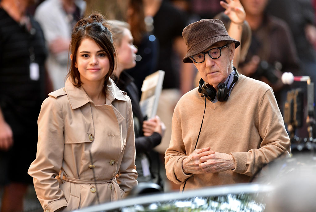 Selena Gomez and Woody Allen on the set of 'A Rainy Day in New York', 2017