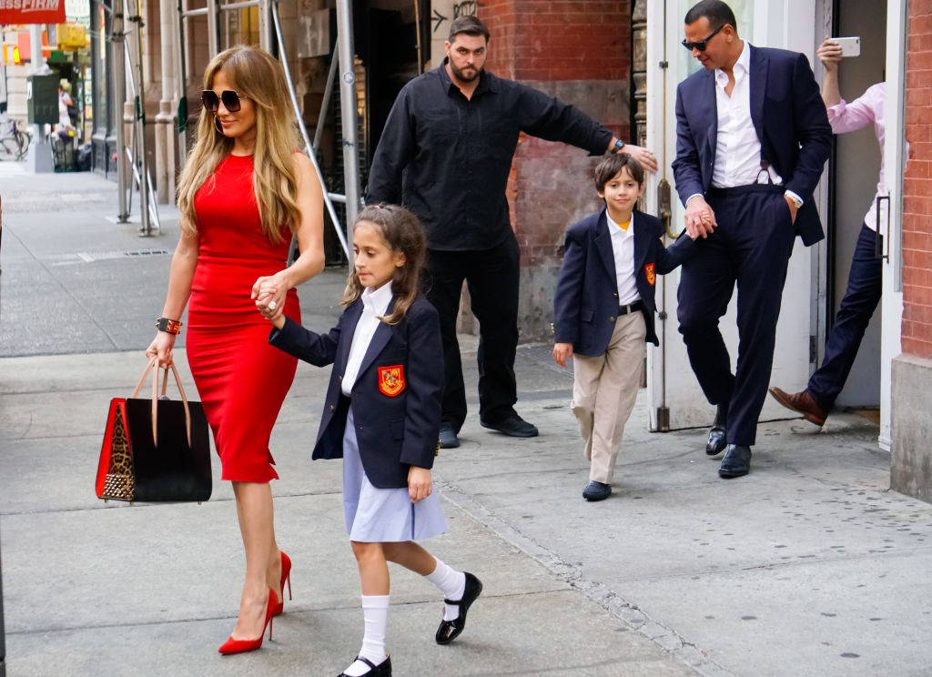 Jennifer Lopez with her daughter, Emme, Alex Rodriguez, and Lopez's son, Max