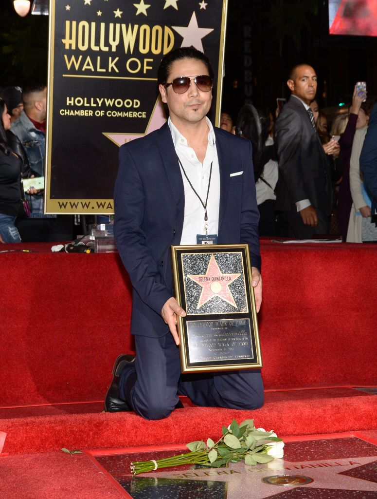 Musician Chris Perez attends the ceremony honoring his late wife, singer Selena Quintanilla, with a Star on the Hollywood Walk of Fame on November 3, 2017