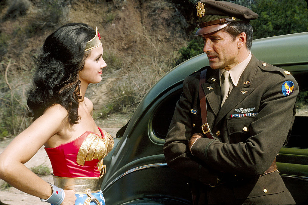 Lyle Waggoner with Lynda Carter in a scene from 'Wonder Woman', 1976