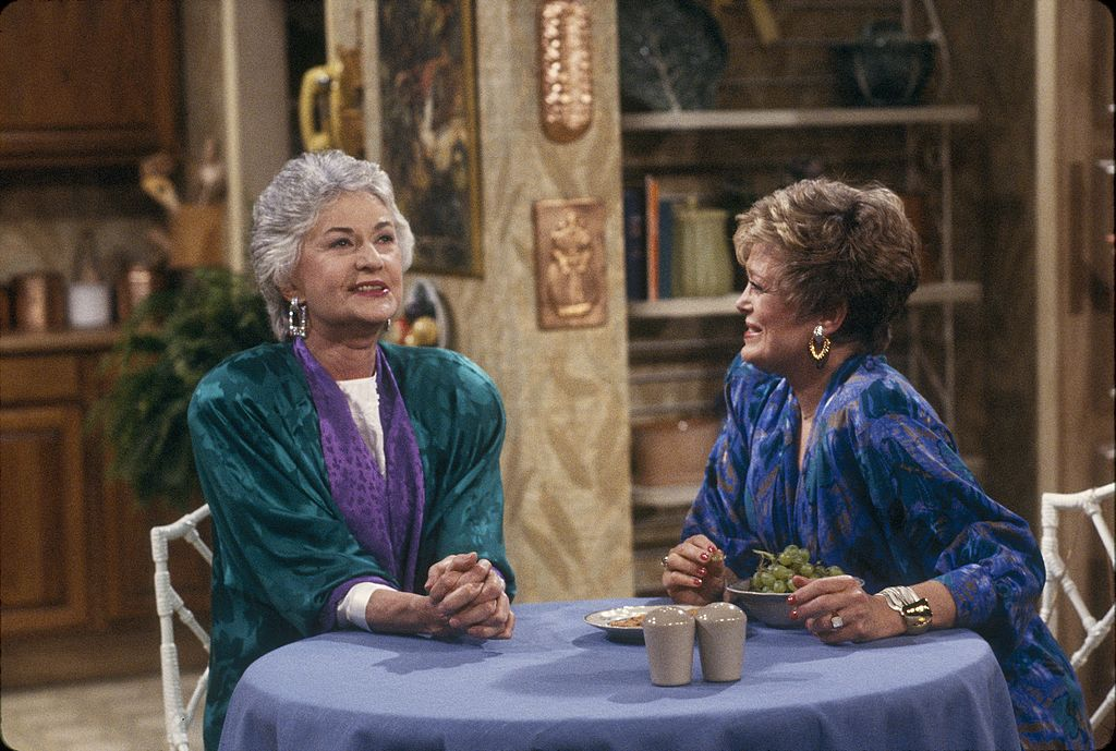 Bea Arthur (left) with Rue McClanahan in a scene from 'The Golden Girls'