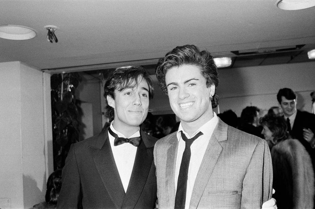 Andrew Ridgeley and George Michael of Wham!,1984