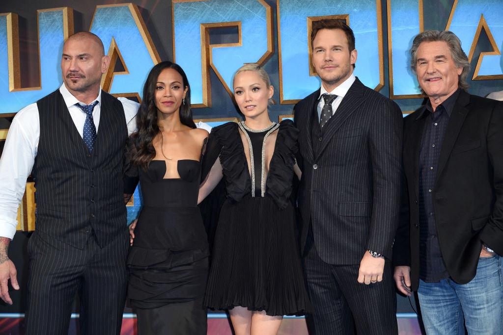 "Dave Bautista, Zoe Saldana, Pom Klementieff, Chris Pratt and Kurt Russell of ""Guardians of the Galaxy Vol. 2"""