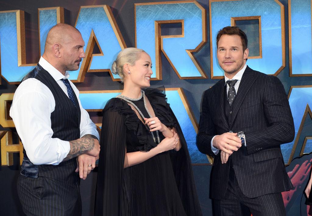 "Dave Bautista, Pom Klementieff, and Chris Pratt of ""Guardians of the Galaxy Vol. 2"""
