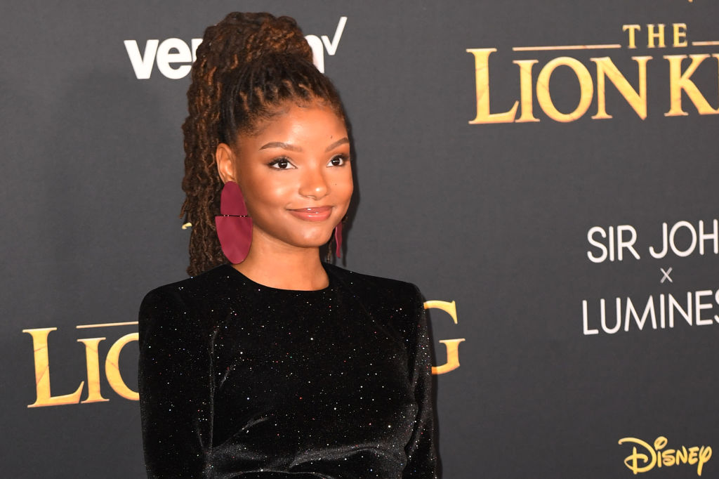 Halle Bailey from US duo Chloe X Halle arrives for the world premiere of Disney's 'The Lion King'