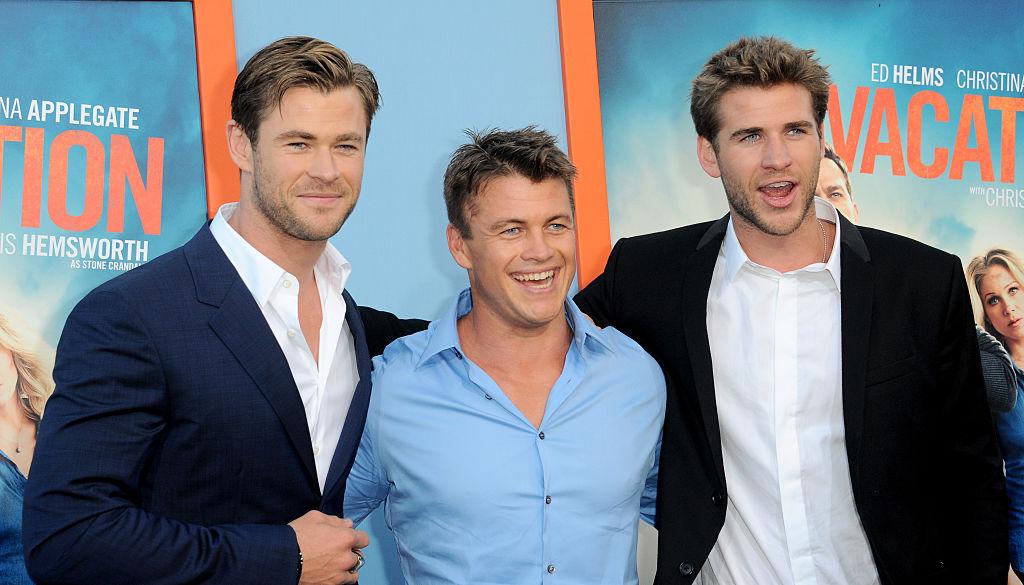 Liam Hemsworth, Luke Hemsworth and Chris Hemsworth smiling