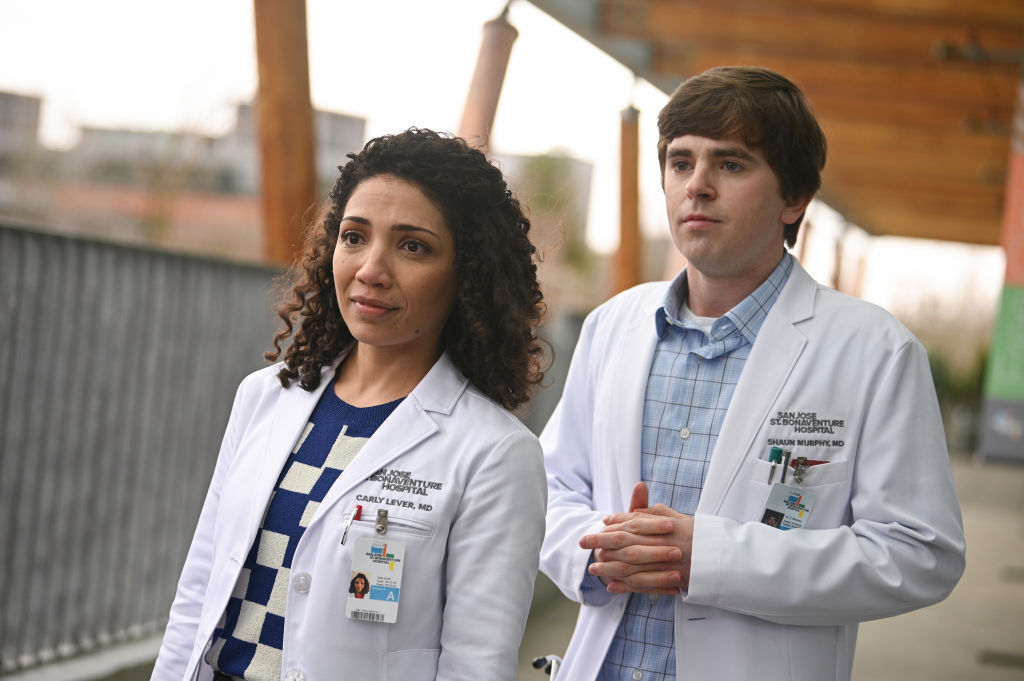 Jasika Nicole and Freddie Highmore on The Good Doctor | Liane Hentscher/ABC via Getty Images