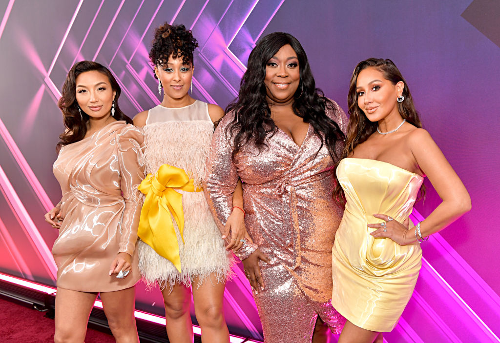 Jeannie Mai, Tamera Mowry-Housley, Loni Love and Adrienne Houghton on the red carpet at an award show in 2019