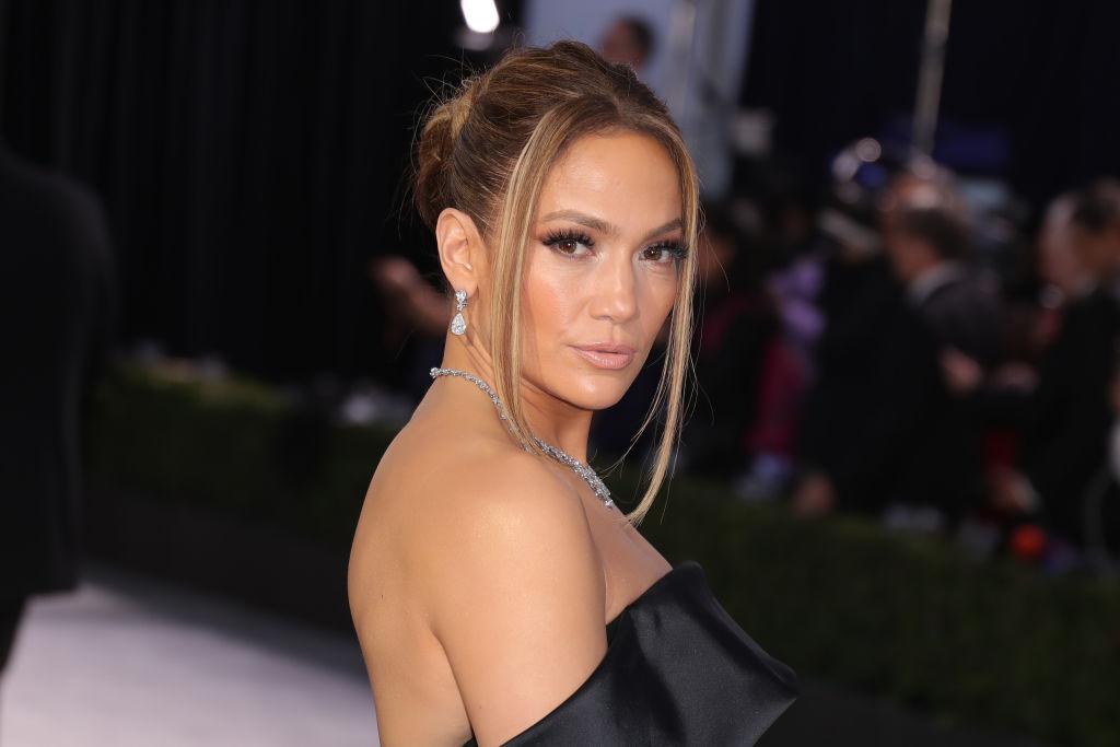 Jennifer Lopez wearing a black dress