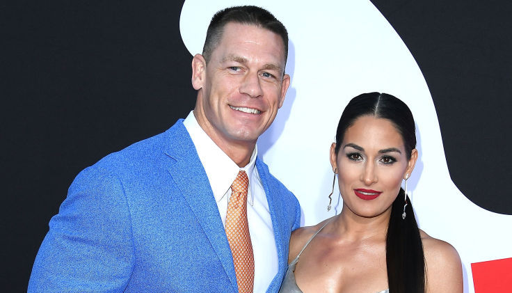 John Cena and Nikki Bella on the red carpet at an event in April 2018