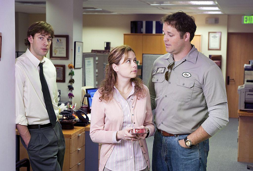 John Krasinski as Jim Halpert, Jenna Fischer as Pam Beesly, and David Denman as Roy Anderson The Office