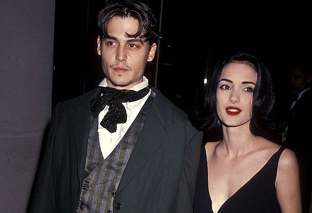 Johnny Depp and Winona Ryder at an award show in January 1991
