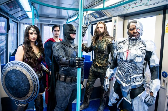 'Justice League' characters on the London Underground