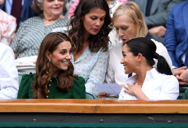 Kate Middleton and Meghan Markle attend Wimbledon on July 13, 2019