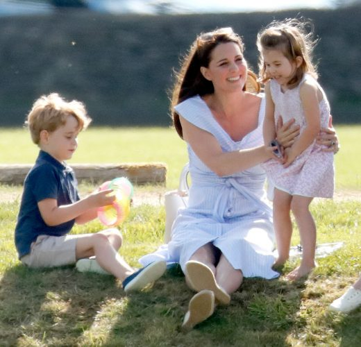Kate Middleton with her children Prince George and Princess Charlotte at a charity polo match on June 10, 2018