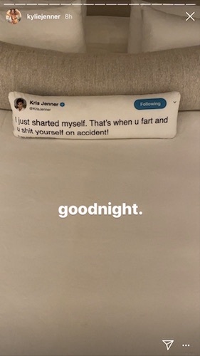"""Kylie Jenner's pillow made from her mom's iconic """"hacked"""" tweet"""