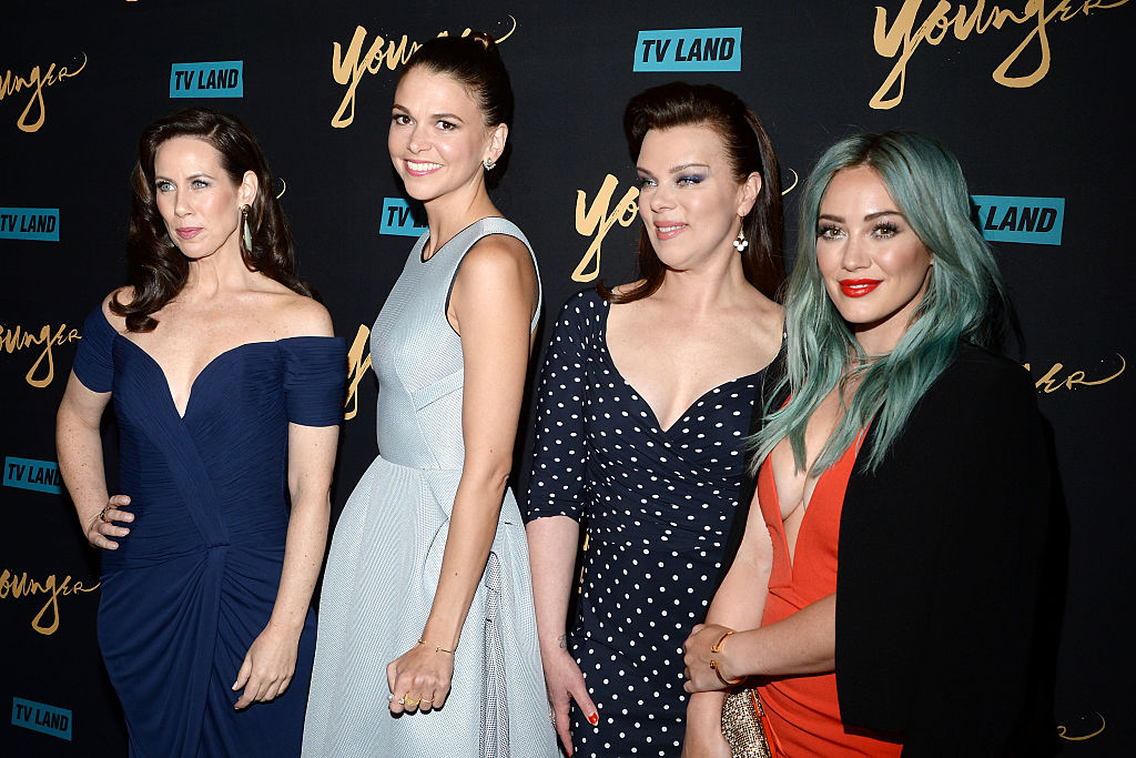 (L-R) Miriam Shor, Sutton Foster, Debi Mazar and Hilary Duff