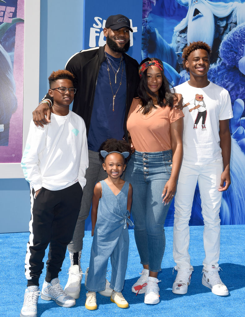 "LeBron James, Savannah James, LeBron  ""Bronny"" James Jr., Bryce Maximus James and Zhuri James in 2018"