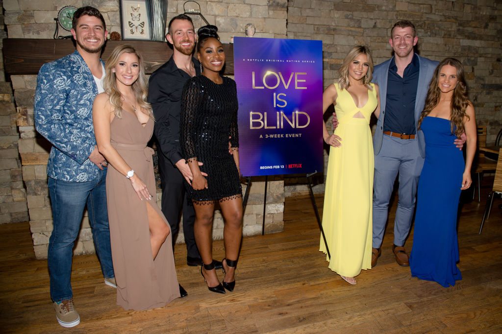 Matt Barnett, Amber Pike, Cameron Hamilton, Lauren Speed, Giannina Gibelli, Damian Powers, and Kelly Chase of 'Love Is Blind' | Marcus Ingram/Getty Images for Netflix