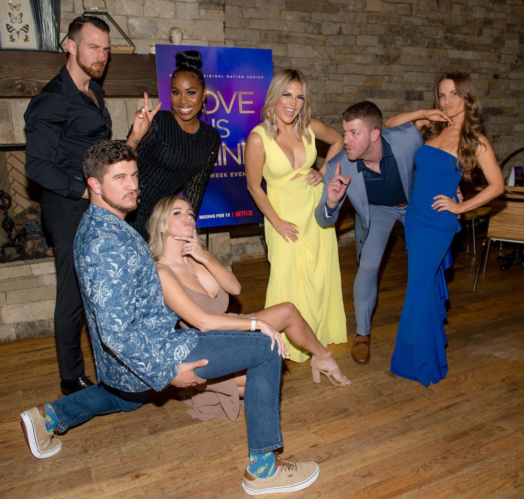 Matt Barnett, Amber Pike, Cameron Hamilton, Lauren Speed, Giannina Gibelli, Damian Powers, and Kelly Chase of 'Love Is Blind'   Marcus Ingram/Getty Images for Netflix