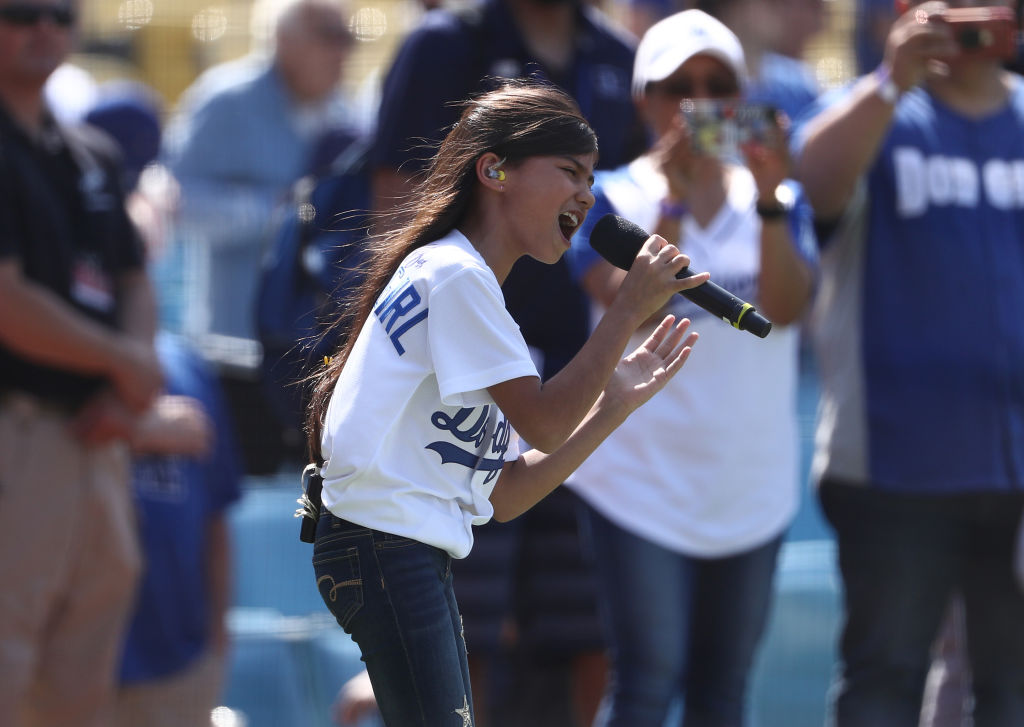 Madison Baez sings the National Anthem
