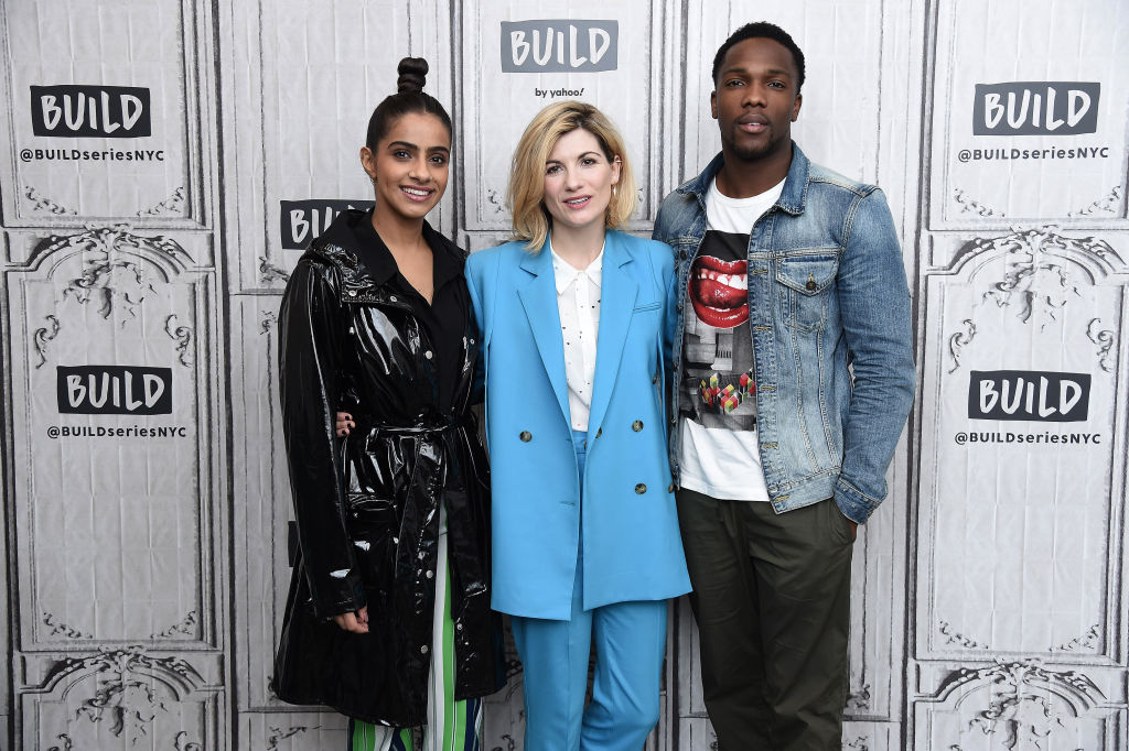 Mandip Gill, Jodie Whittaker, and Tosin Cole of the Doctor Who season 12 finale