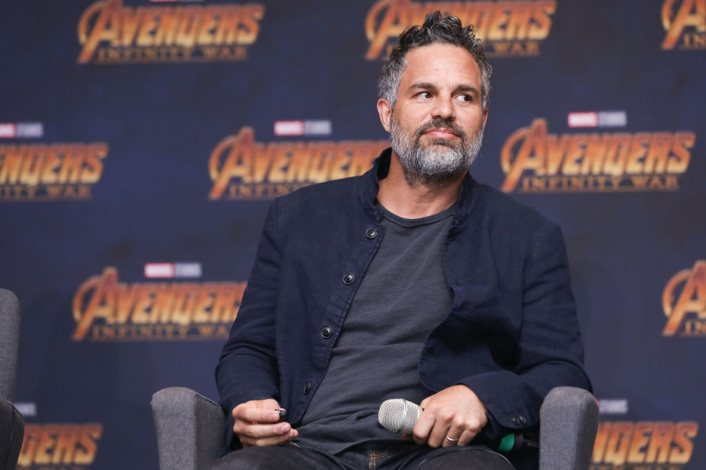 Mark Ruffalo in front of a repeating background