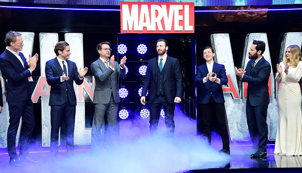 "Paul Bettany, Daniel Bruhl, Robert Downey Jr, Chris Evans, Tom Holland, Paul Rudd, and Elizabeth Olsen of ""Captain America: Civil War"""