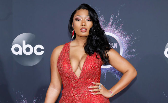 Megan Thee Stallion on the red carpet at an award show in November 2019
