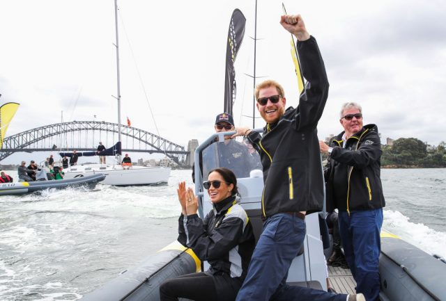 Meghan, Duchess of Sussex and Prince Harry, Duke of Sussex cheering on sailers during the Invictus Games Sydney 2018 on Oct. 21,  2018, in Sydney, Australia