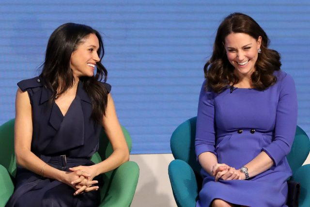 Meghan Markle and Kate Middleton attend the First Annual Royal Foundation Forum on Feb. 28, 2018