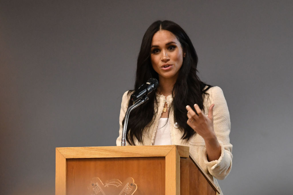 Meghan Markle speaks during a special school assembly at the Robert Clack Upper School in Dagenham ahead of International Women's Day