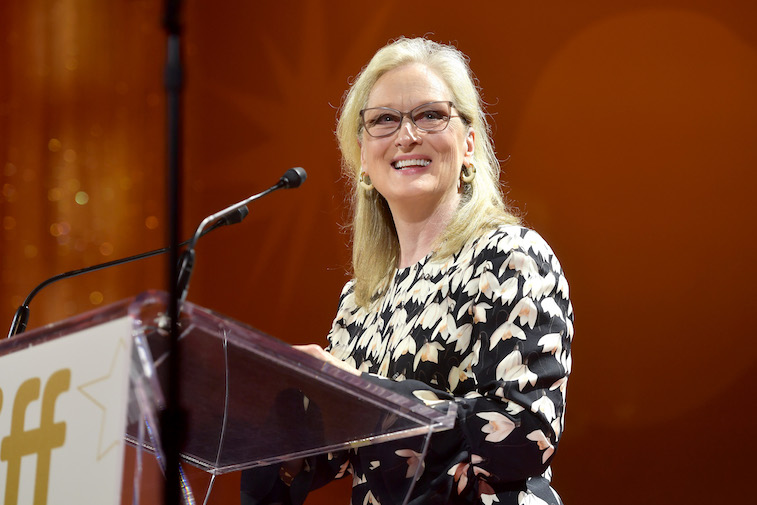 Meryl Streep speaks onstage