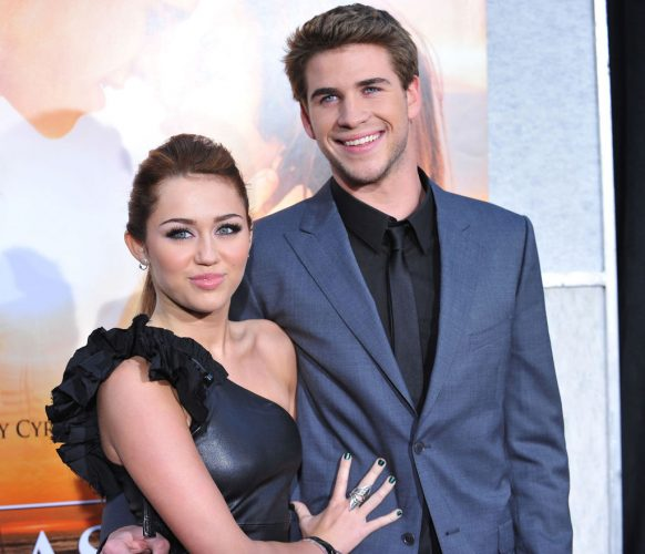 Miley Cyrus and Liam Hemsworth at the premiere of 'The Last Song' on March 25, 2010