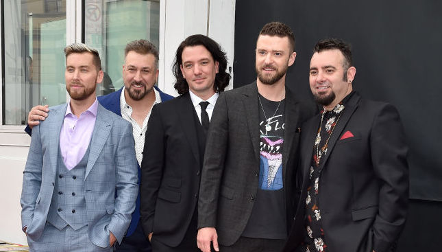 Lance Bass, Joey Fatone, JC Chasez, Justin Timberlake, and Chris Kirkpatrick at an event in April 2018