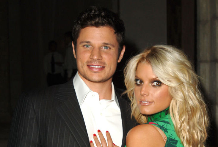Nick Lachey and Jessica Simpson at an event in November 2005