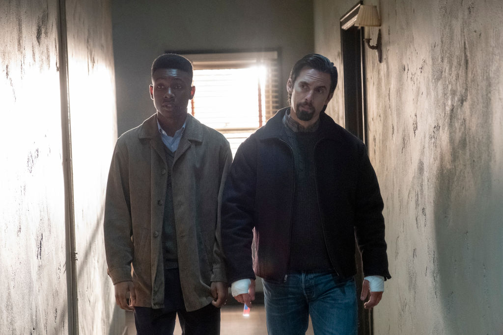 Niles Fitch as Randall and Milo Ventimiglia as Jack on 'This Is Us' - Season 4